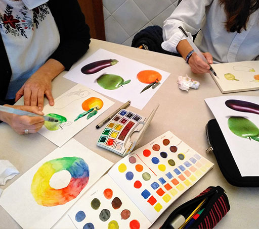 Paletas de colores en las clases particulares de dibujo